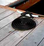 "1/2"" x 30' Black Solid Braided Poly Dock Line w/ Chafe Guard For Boats up to 35' - Sold Individually"