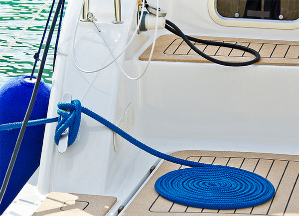 "3/8"" x 15' - Blue - (2 Pack) - Solid Braided Poly Dock Line w/ Chafe Guard For Boats up to 25'"