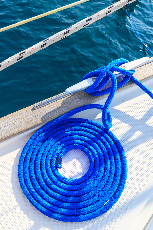"1/2"" x 25' Marine Blue REFLECTIVE Double Braided Poly Dock Line  - For Boats up to 35' - Sold Individually"