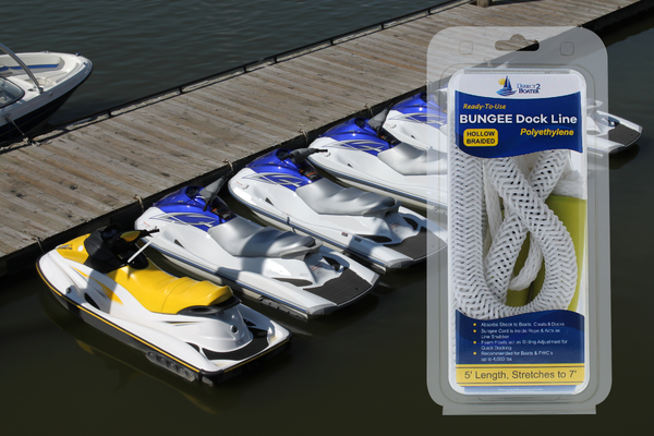 5' Bungee Dock Line - White - Stretches to 7' - Ideal for Boats, PWC, Jet Ski, Dinghy, Kayak & Pontoon up to 4000#