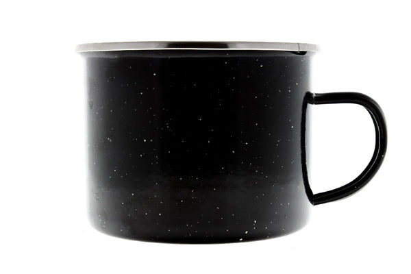 16 oz Durable Metal Camping Mug with Black Speckled Enamel Finish - 3 Pack - By Direct 2 Boater