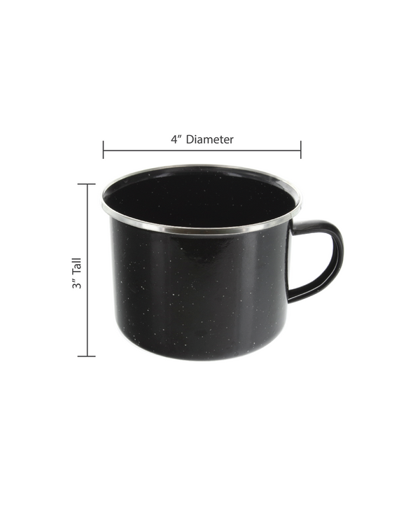 16 oz Durable Metal Camping Mug with Black Speckled Enamel Finish - 6 Pack - By Direct 2 Boater
