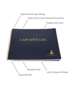 Captain's Log Book  - Spiral Bound Book with Blue Flexible Cover - 100 Pages - Ideal Boat Journal, Boater Gift