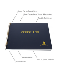 Cruise Log Book - Elegant Boat Journal Hard Bound Book w/ Place Marker & Pen Holder, 100 Pages - Ideal Boater Gift