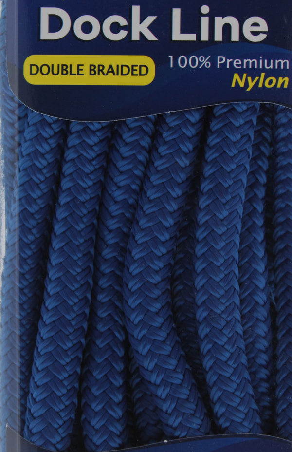 "1/2"" x 20' - Royal Blue - Double Braided 100% Premium Nylon Dock Line  - 12"" Eye - For Boats up to 35'"