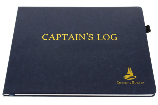 Direct 2 Boater Elegant Blue Hard Bound Captain's Log Book with Place Marker & Pen Holder