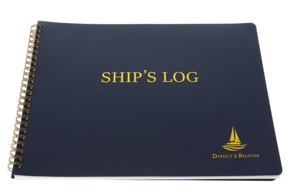 Ship's Log Book - Spiral Bound Book - Blue Book with Flexible Cover - 100 Pages, Ideal Boat Journal, Boater Gift