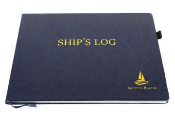 Direct 2 Boater Elegant Blue Hard Bound Ship's Log Book with Place Marker & Pen Holder Great Gift Item 100 Pages