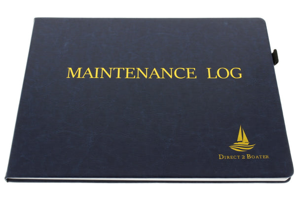 Direct 2 Boater Elegant Blue Hard Bound Maintenance Log Book with Place Marker and Pen Holder Great Gift Item 100 Pgs