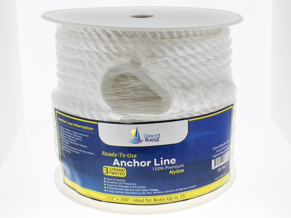 "1/2"" x 200' White 3 Strand Twisted Nylon Anchor Line - Boat Accessories"