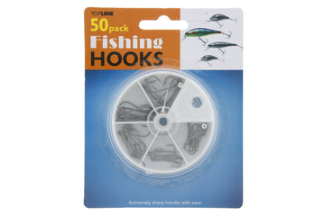 50 Fishing Hooks in Divided Case with Rotating Lid, 20 Lrg, 20 Med & 10 Small Hooks