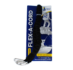 "Flex-A-Cord - 24"" Length - Black Nylon with Stainless Steel Clips  - 10x Stronger than Bungee Cords"