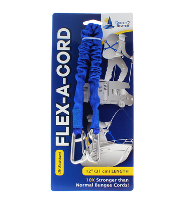 "Flex-A-Cord - 12"" Length - Blue Nylon with Stainless Steel Clips  - 10x Stronger than Bungee Cords"