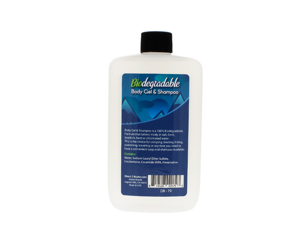 Biodegradable Shampoo & Body Wash 8 oz - 2-in-1 Hair & Body Wash, For Fresh & Salt Water, No Dies or Fragrances