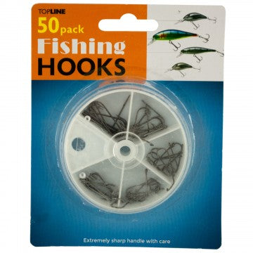 Fishing Hooks in Divided Case, 50 Pack