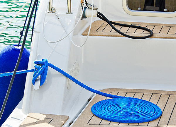 "3/8"" x 15' Blue REFLECTIVE Double Braided  Nylon Dock Line - For Boats up to 25' - Sold Individually"