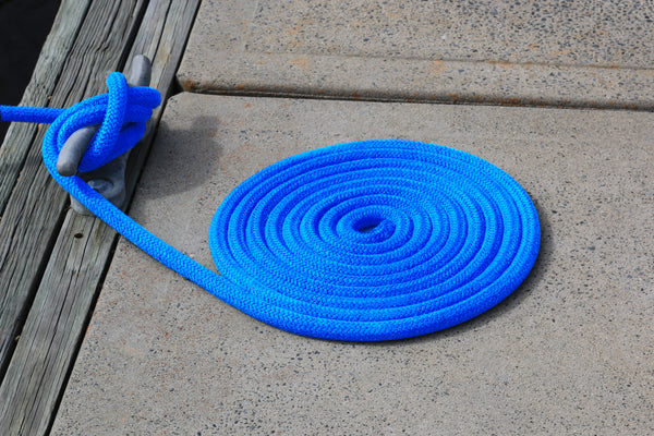 "3/8"" x 10' - Marine Blue - (2 Pack) - Double Braided 100% Premium Nylon Dock Line - 12"" Eye - For Boats up to 25'"