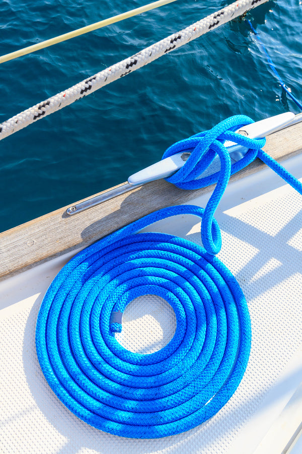 "3/8"" x 15'  Blue Double Braided Nylon Dock Line - For Boats up to 25' -  Sold Individually"