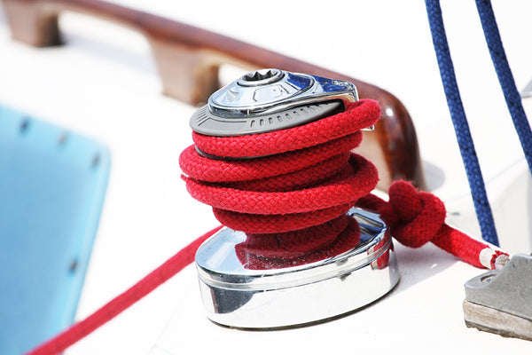 "3/8"" x 15' - Red Solid Braided Poly Dock Line w/Chafe Guard For Boats up to 25' - Sold Individually"