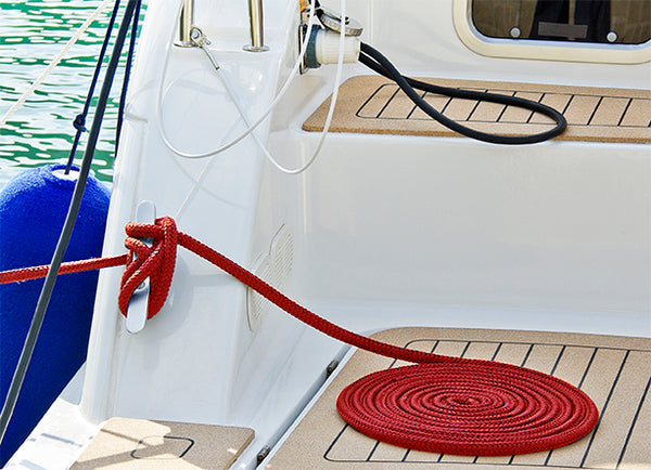 "1/2"" x 20' Red Solid Braided Poly Dock Line w/ Chafe Guard - For Boats up to 35' -  Sold Individually"