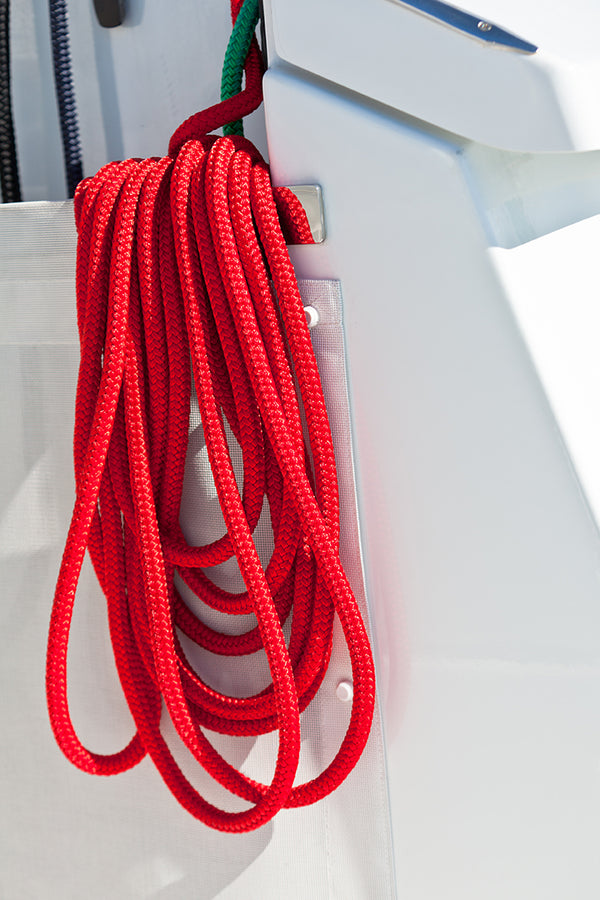 "1/2"" x 25' Red Solid Braided Poly Dock Line w/ Chafe Guard - For Boats up to 35' -  Sold Individually"