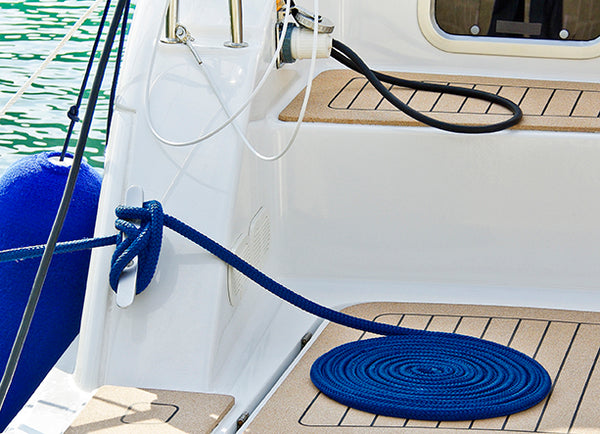 "1/2"" x 30' - Royal Blue - Double Braided 100% Premium Nylon Dock Line  - 12"" Eye - For Boats up to 35'"