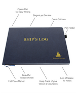 Ship's Log Book - Elegant Boat Journal Hard Bound w/ Place Marker & Pen Holder, 100 Pages - Ideal Boater Gift