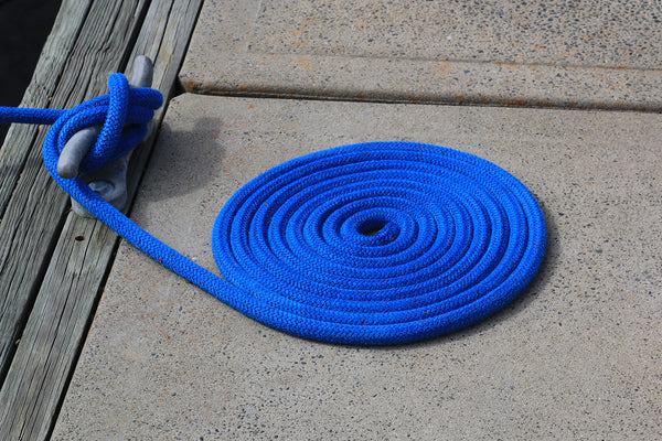 "1/2"" x 15' Blue - (2 Pack) - Polypropylene Dock Line with Chafe Guard - For Boats up to 35'"