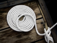 "3/8"" x 25' White 3 Strand Twisted Nylon Dock Line - For Boats up to 25' -  Sold Individually"