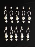 "Stayput 6 5/8"" Standard Size White Shock Cord & Fastener for Canvas,10 Pack w/White Knobs & #10 Stainless Screws"