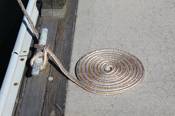 "1/2"" x 20' Gold/White REFLECTIVE Double Braided Nylon Dock Line - For Boats up to 35' - Sold Individually"
