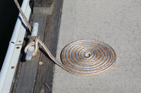 "3/8"" x 15' Gold/White - (2 Pack) - Double Braided Nylon Dock Line - For Boats up to 25'"