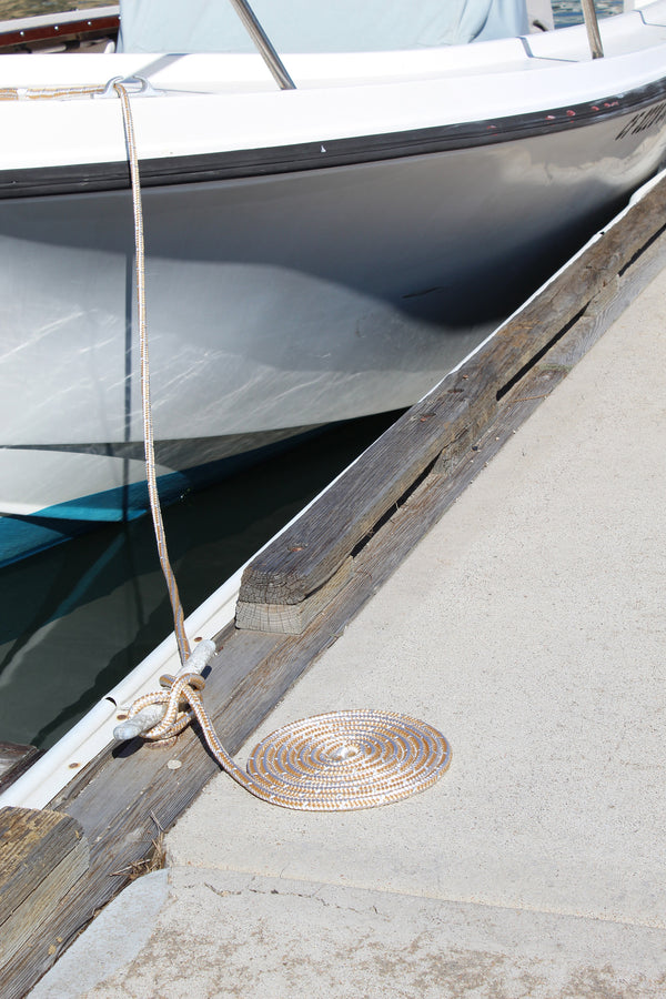 "3/8"" x 15' Gold/White Double Braided Nylon Dock Line - For Boats up to 25' -  Sold Individually"