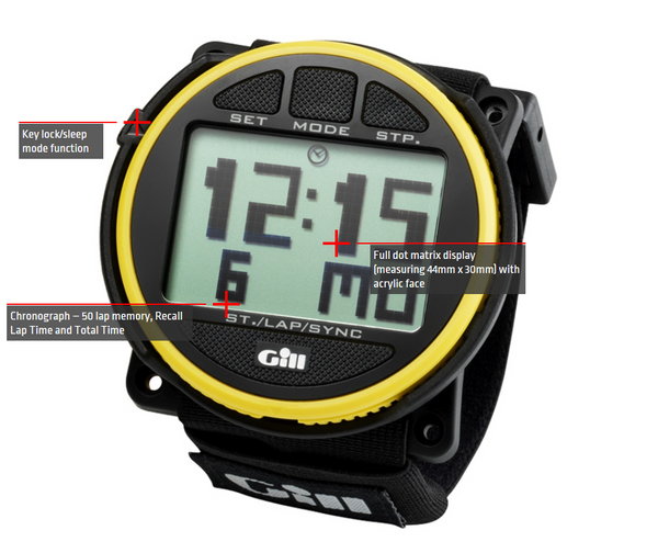 Gill Sailing Regatta Race Timer - Black Color - Water Resistant to 30M - Shock and Impact Resistant