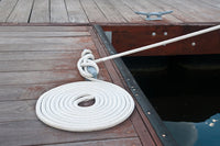 "3/8"" x 15'  White REFLECTIVE Double Braided  Nylon Dock Line - For Boats up to 25' - Sold Individually"