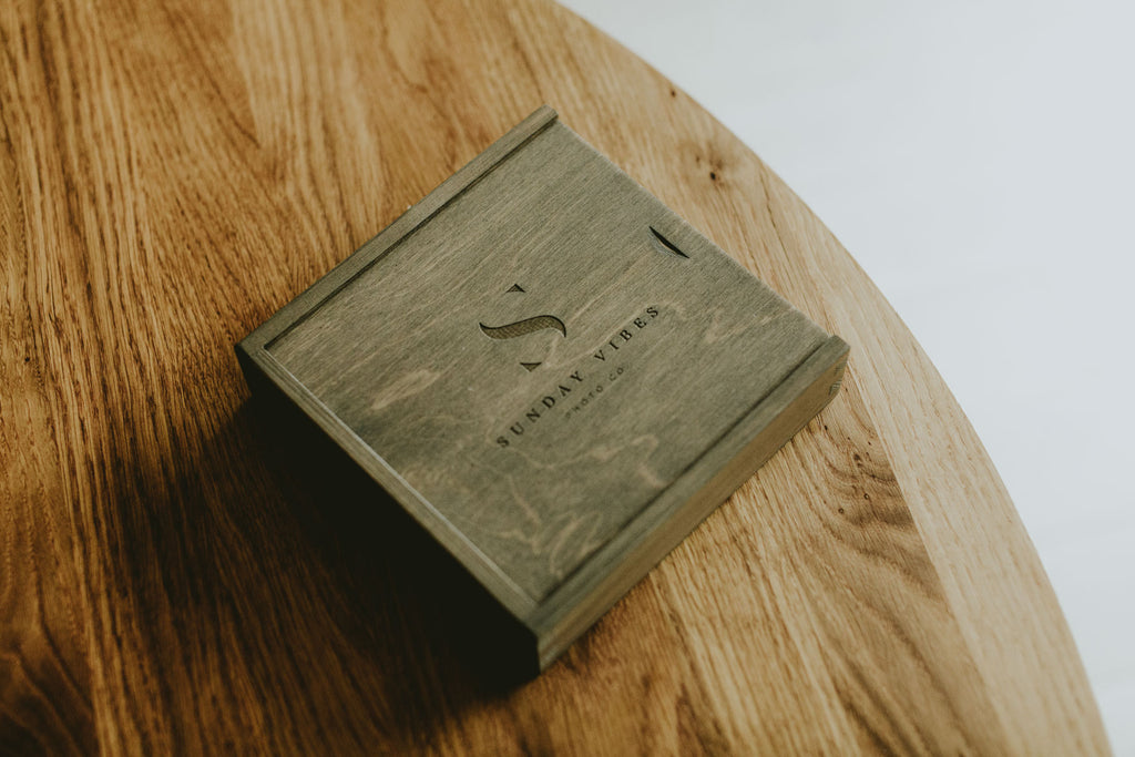 gray wooden box for prints