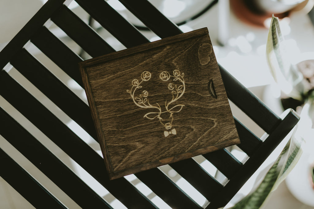 wooden box for prints and usb drive