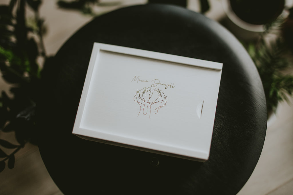 white wash wooden box for wedding photographers
