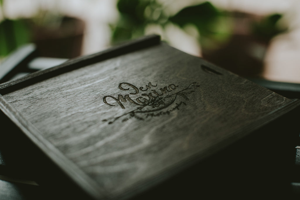 wooden box for prints and usb drives