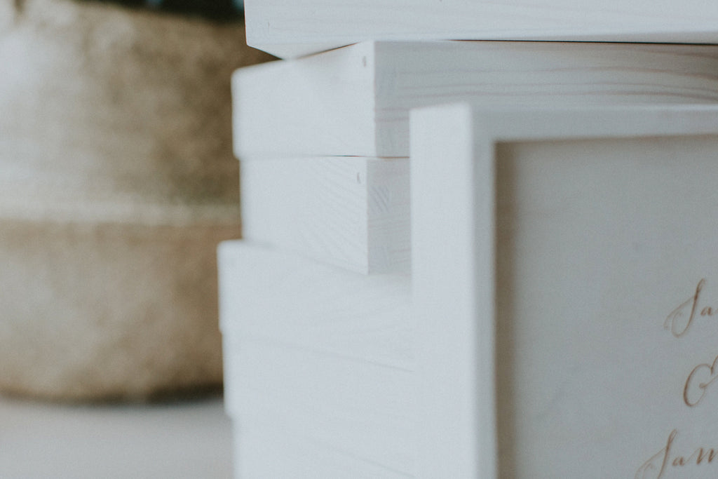 White wash boxes for wedding photographers