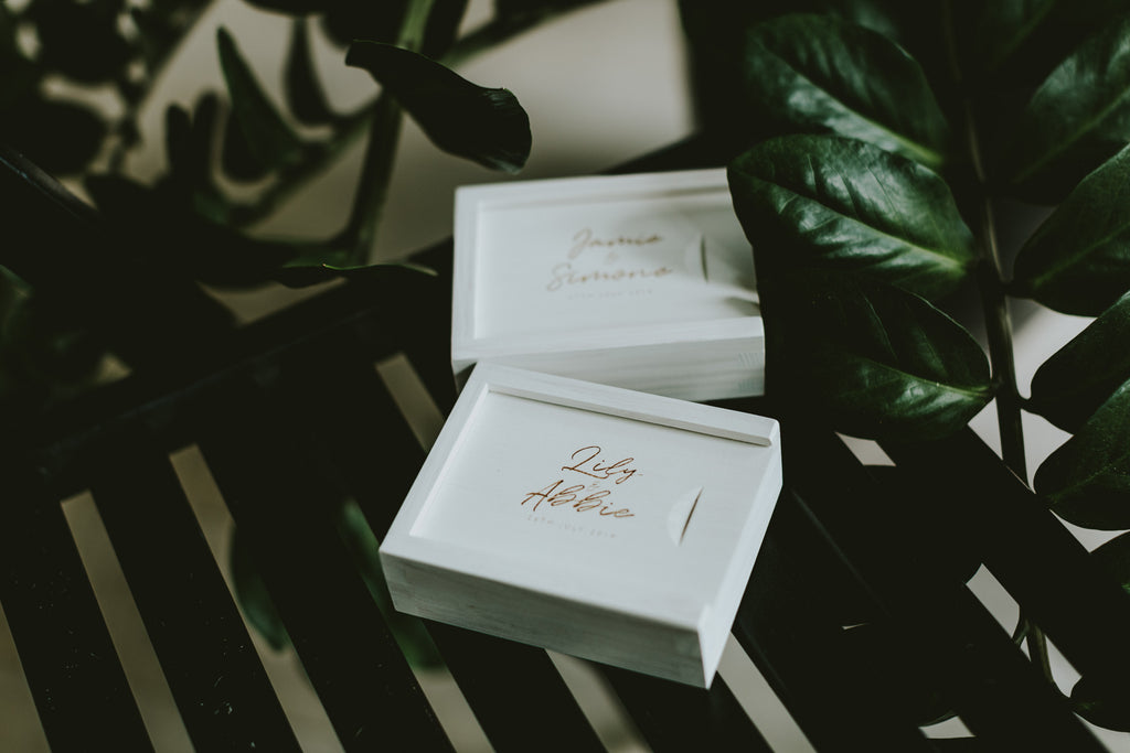 white wooden boxes for wedding photographers