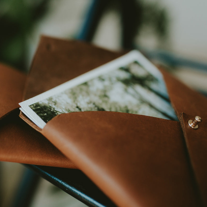 Leather envelope for 4x6 prints (honey brown)