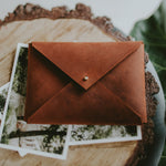 Saddle Leather envelope for prints | Honey Brown