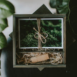 Square wooden box for 4x6 prints & USB
