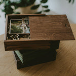 Square wooden box for 5x7 prints & USB - set of 10 pcs