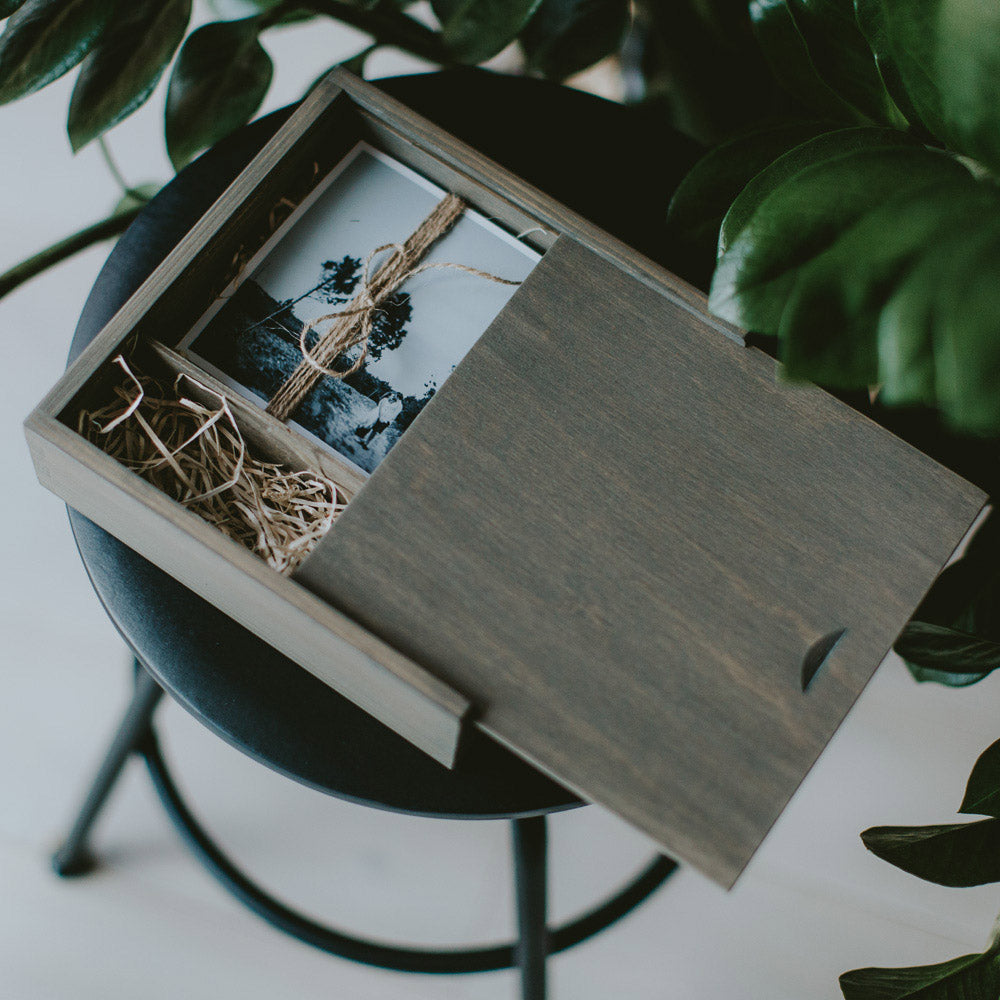 Square wooden box for 5x7 prints & USB