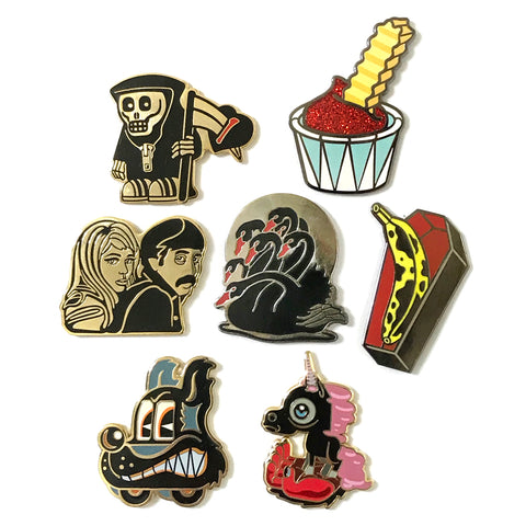 7 Enamel Pins Set