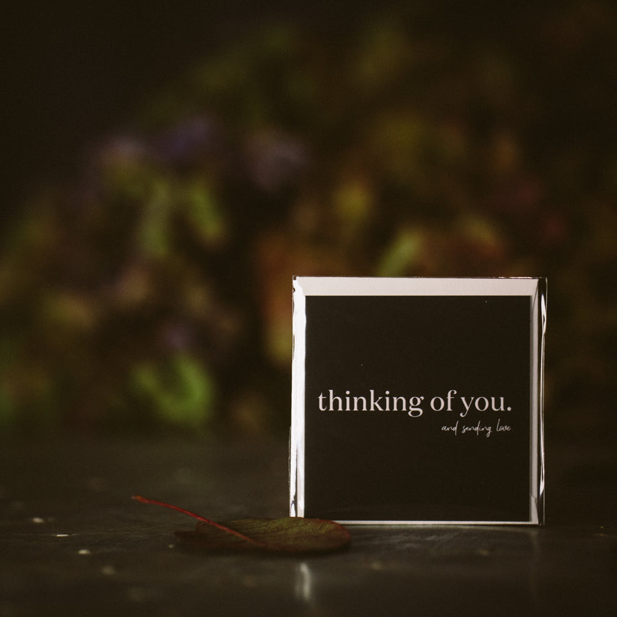 """ thinking of you and sending love"" mini card"