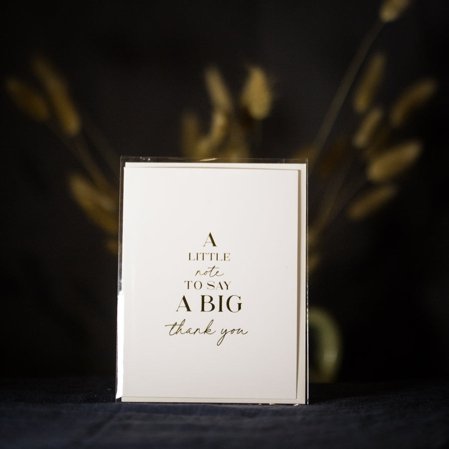 """ A little note to say a big thank you"" card"