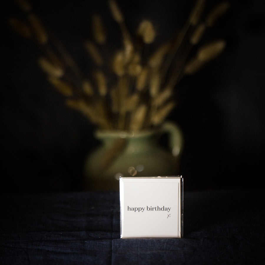 """Happy birthday x"" small white card"